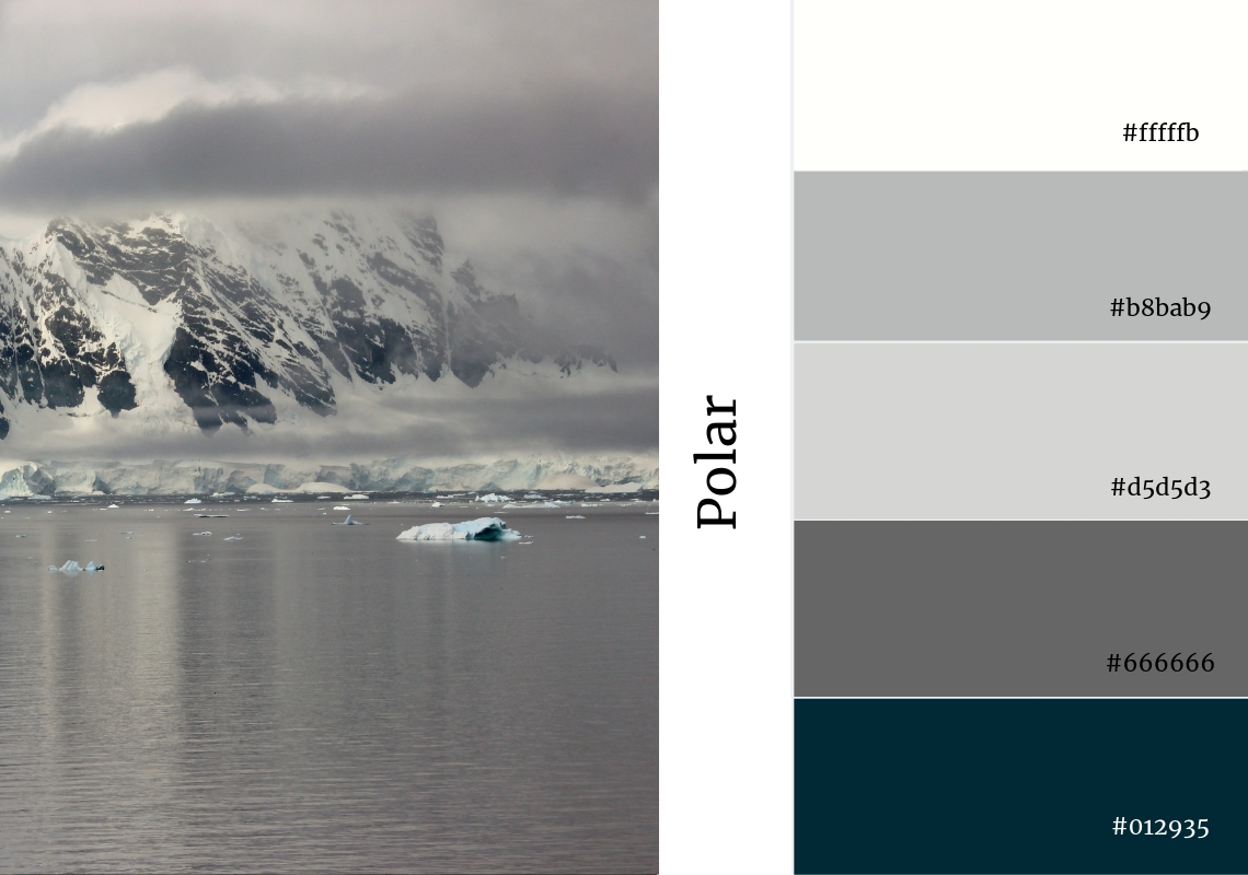polar colour scheme grey snow cold