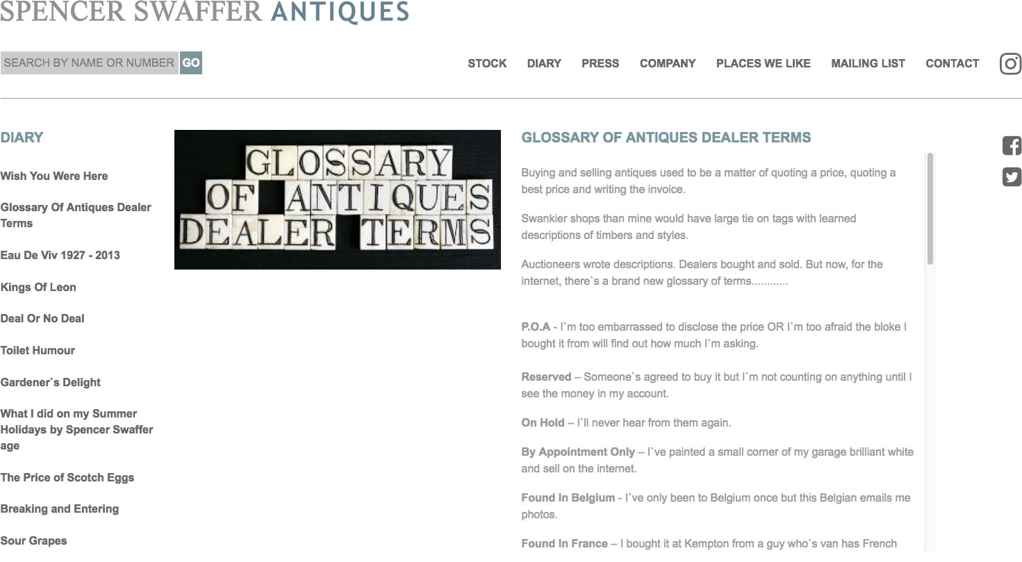 Glossary of Antique Dealer terms