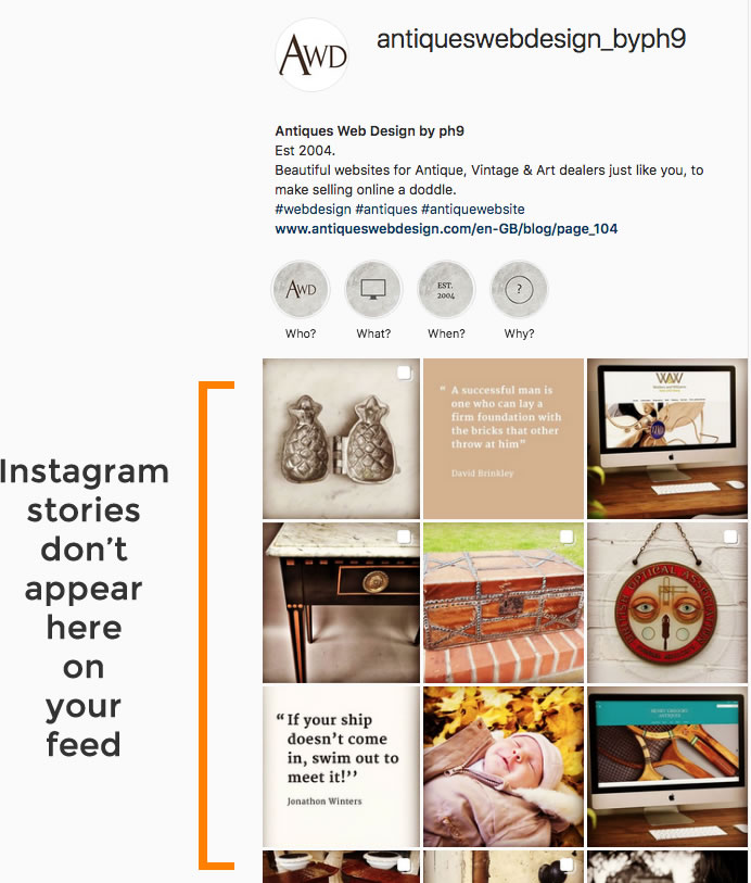 Instagram stories don't appear on your feed
