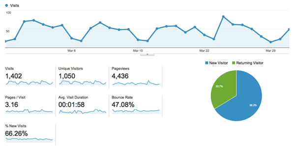 Website statistics example. Click here for more info
